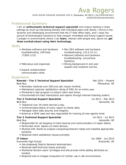 Remote Tier 3 Technical Support Specialist resume sample Wisconsin