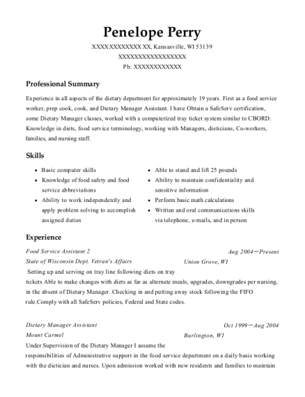 Food Service Assistant 2 resume sample Wisconsin