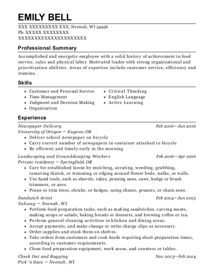 Newspaper Delivery resume format Wisconsin