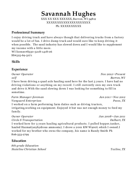 Owner Operator resume template Wisconsin
