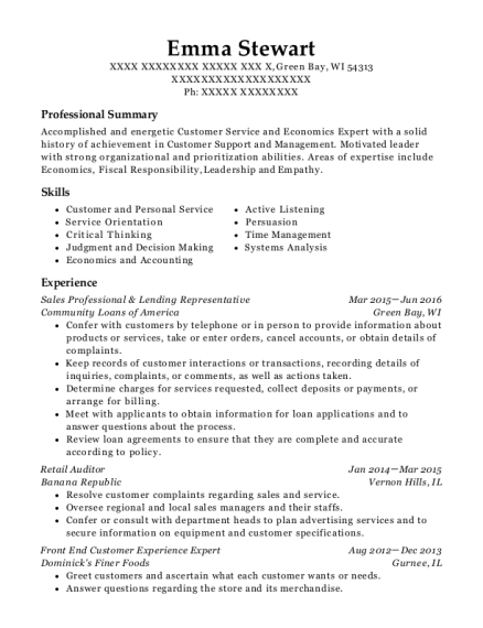 Sales Professional & Lending Representative resume sample Wisconsin
