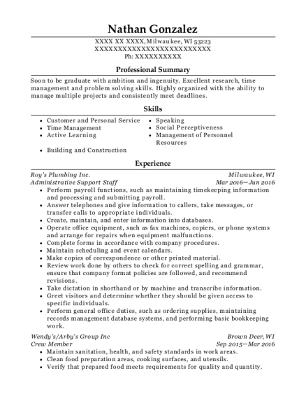 Administrative Support Staff resume format Wisconsin