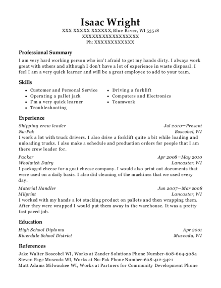 Shipping crew leader resume sample Wisconsin