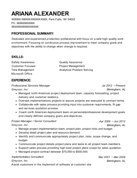 Professional Services Manager resume example Wisconsin