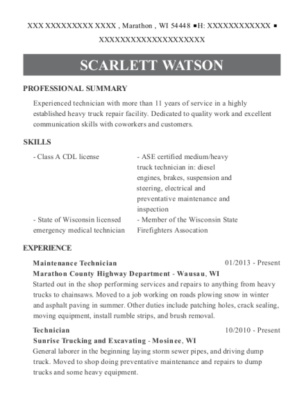 Maintenance Technician resume sample Wisconsin