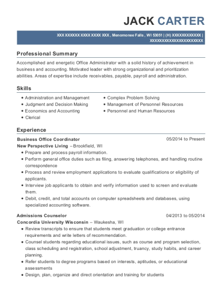 Business Office Coordinator resume example Wisconsin