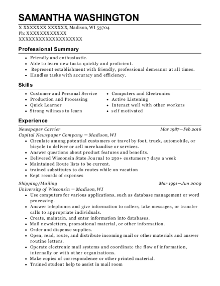 Newspaper Carrier resume format Wisconsin