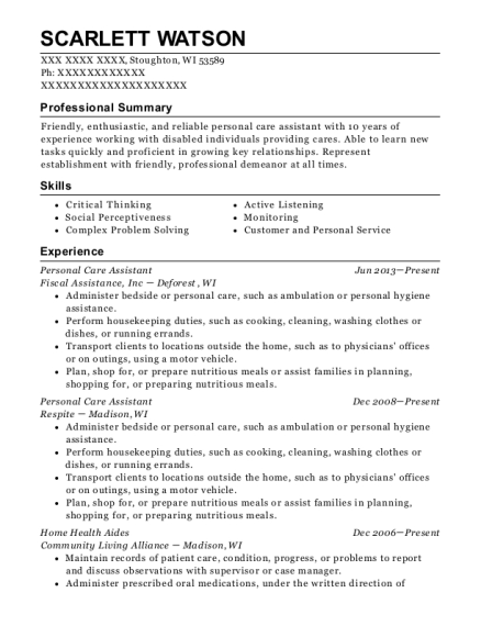 Personal Care Assistant resume example Wisconsin