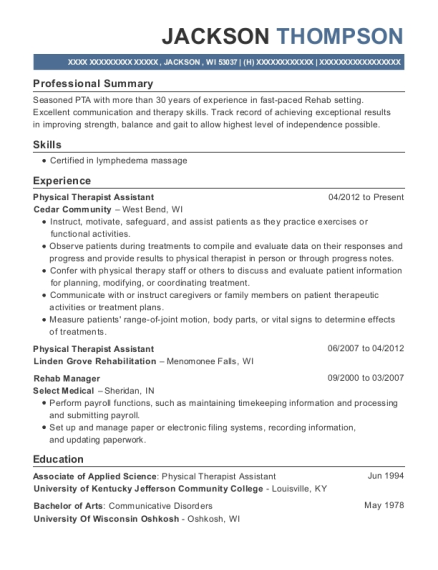 Physical Therapist Assistant resume example Wisconsin