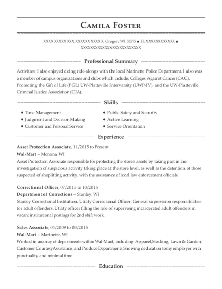 Asset Protection Associate resume example Wisconsin