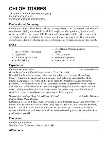 Communications Officer resume example Wisconsin