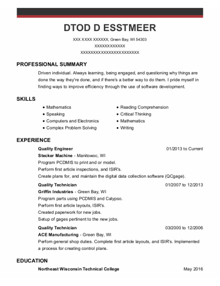 Quality Engineer resume example Wisconsin