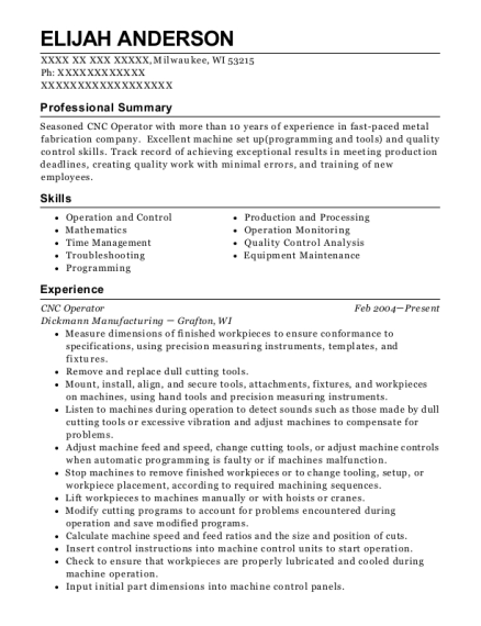 CNC Operator resume sample Wisconsin