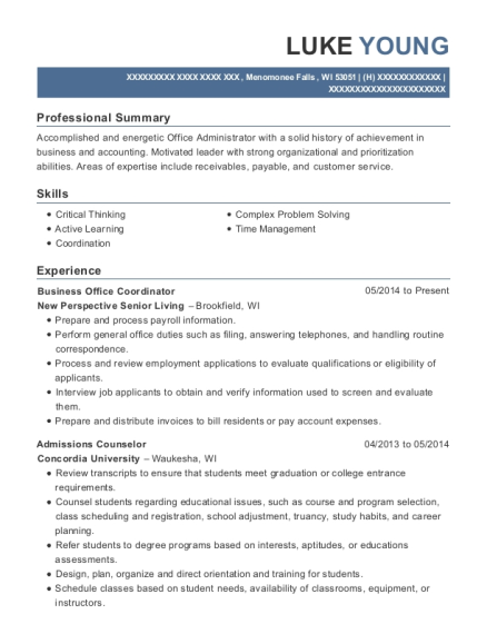 Business Office Coordinator resume sample Wisconsin