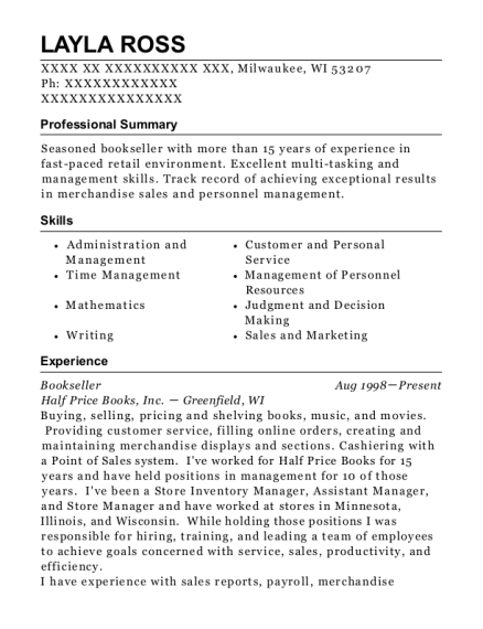 Bookseller resume example Wisconsin