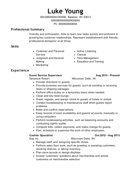 Guest Service Supervisor resume example Wisconsin