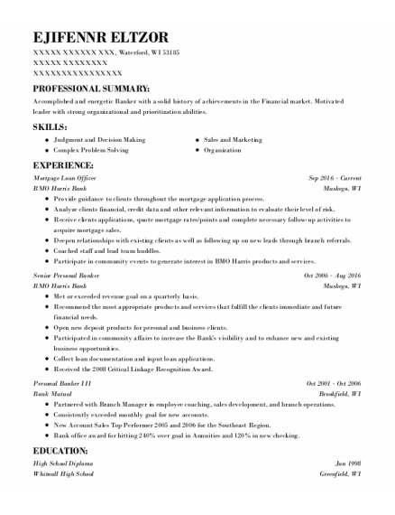 Mortgage Loan Officer resume sample Wisconsin