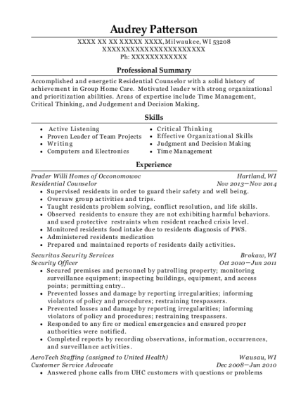 Residential Counselor resume format Wisconsin