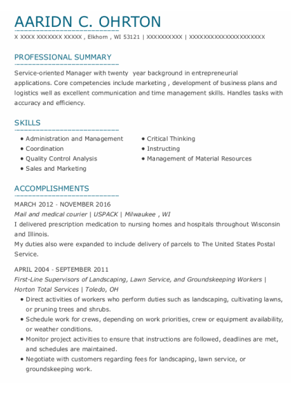 Lawn Service resume template Wisconsin