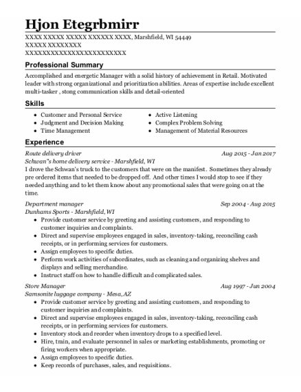 Route Delivery Driver resume template Wisconsin