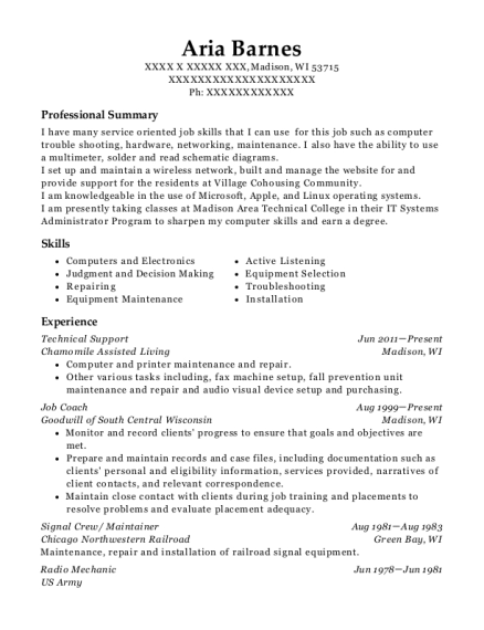 Technical Support resume template Wisconsin