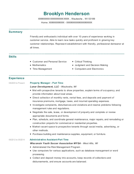 Property Manager Part Time resume example Wisconsin