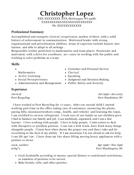Clerical resume sample Wisconsin