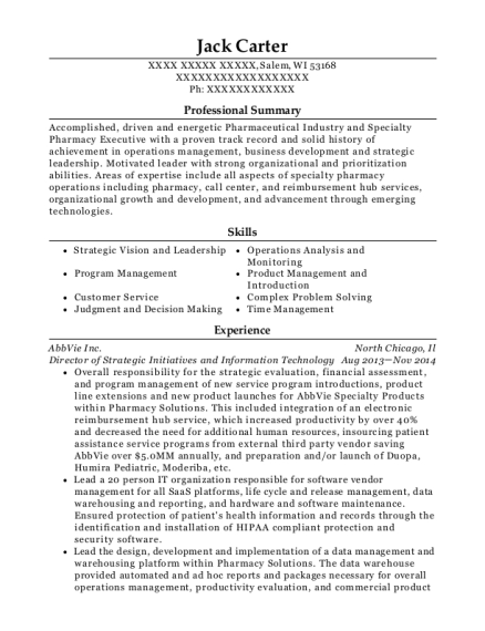 Director of Strategic Initiatives and Information Technology resume format Wisconsin
