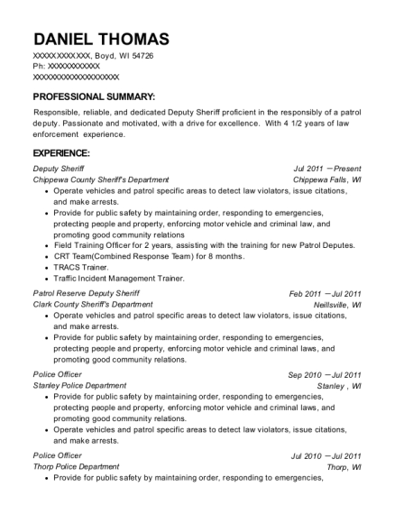 Deputy Sheriff resume sample Wisconsin