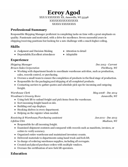 Shipping Manager resume sample Wisconsin