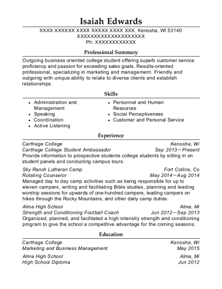 Carthage College Student Ambassador resume example Wisconsin