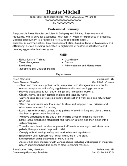 Press Material Handler resume template Wisconsin