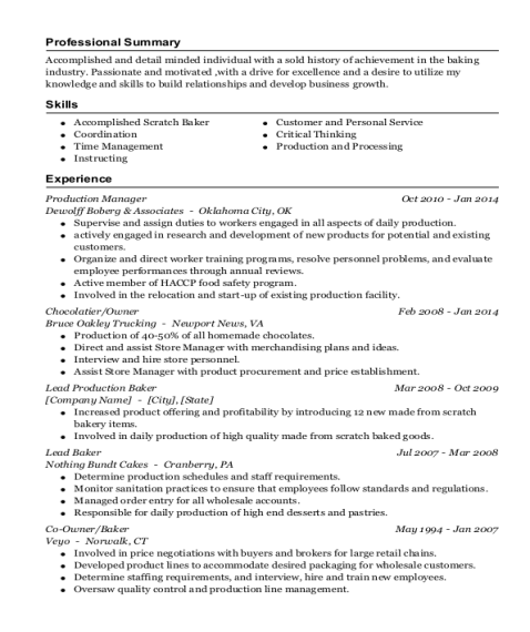 Production Manager resume template Wisconsin