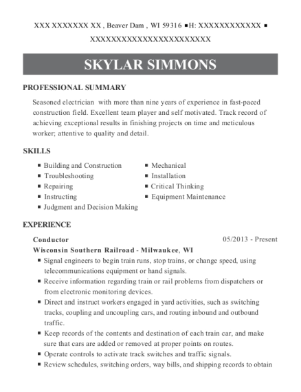 Conductor resume template Wisconsin