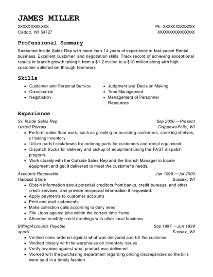 Sr Inside Sales Rep resume template Wisconsin