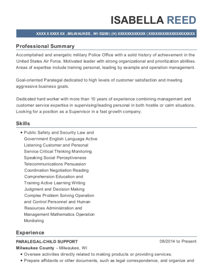 PARALEGAL CHILD SUPPORT resume template Wisconsin