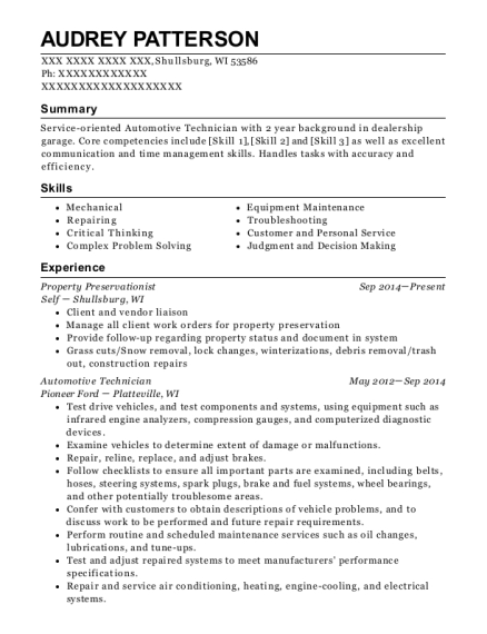 Property Preservationist resume example Wisconsin