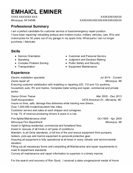 Fire Fighter resume example Wisconsin