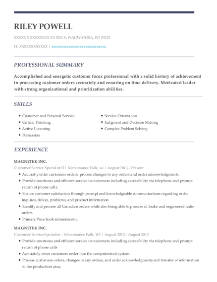 Customer Service Specialist II resume sample Wisconsin