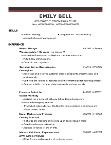 Branch Manager resume example Wisconsin