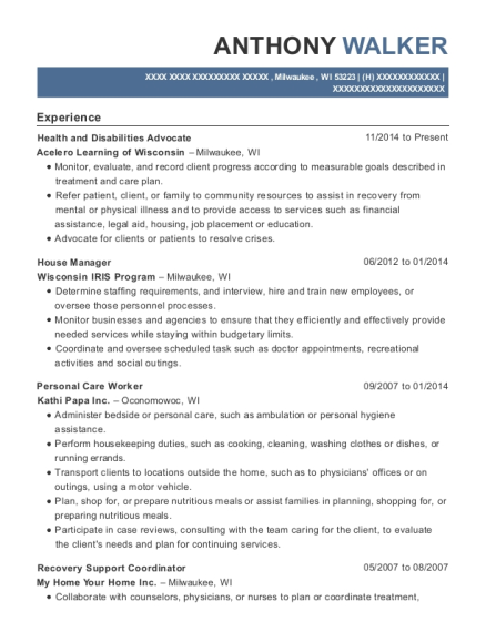 Health and Disabilities Advocate resume template Wisconsin