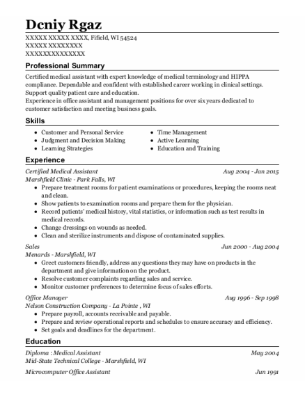 Certified Medical Assistant resume sample Wisconsin