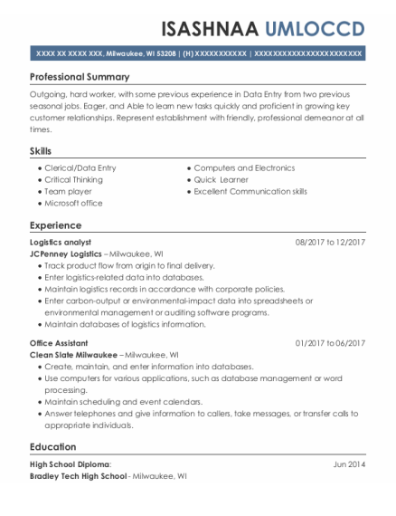 Logistics Analyst resume sample Wisconsin