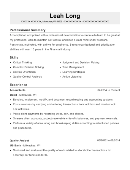 Accountants resume template Wisconsin