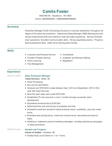 Sales Production Manager resume format Wisconsin