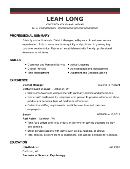 District Manager resume template Wisconsin