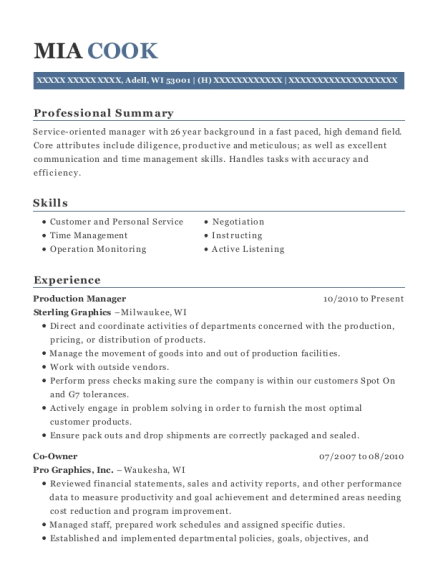 Production Manager resume example Wisconsin