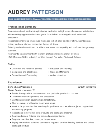 Coffee Line Production resume format Wisconsin