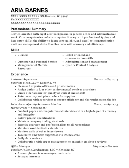 Assistant Supervisor resume example Wisconsin