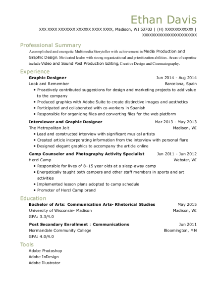 Graphic Designer resume template Wisconsin
